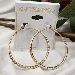 14K Gold Plated Hoop Earrings NWT